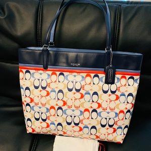 Coach large Signature colorful cc tote bag